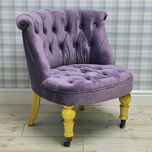 Vintage Style Purple Velvet Upholstered Button Back