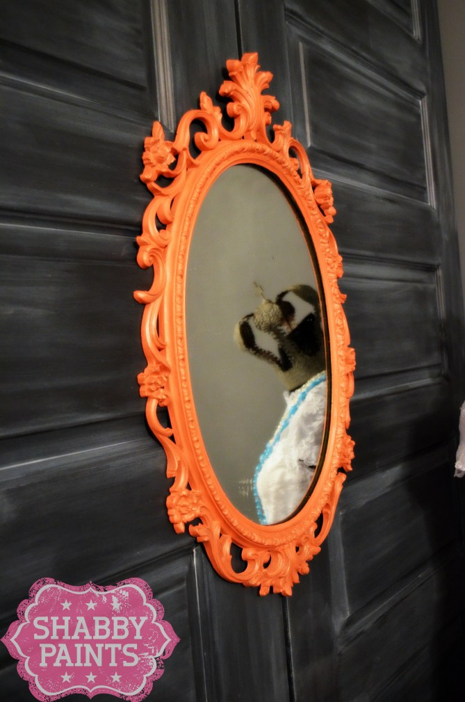 Coral Painted ornate vintage mirror