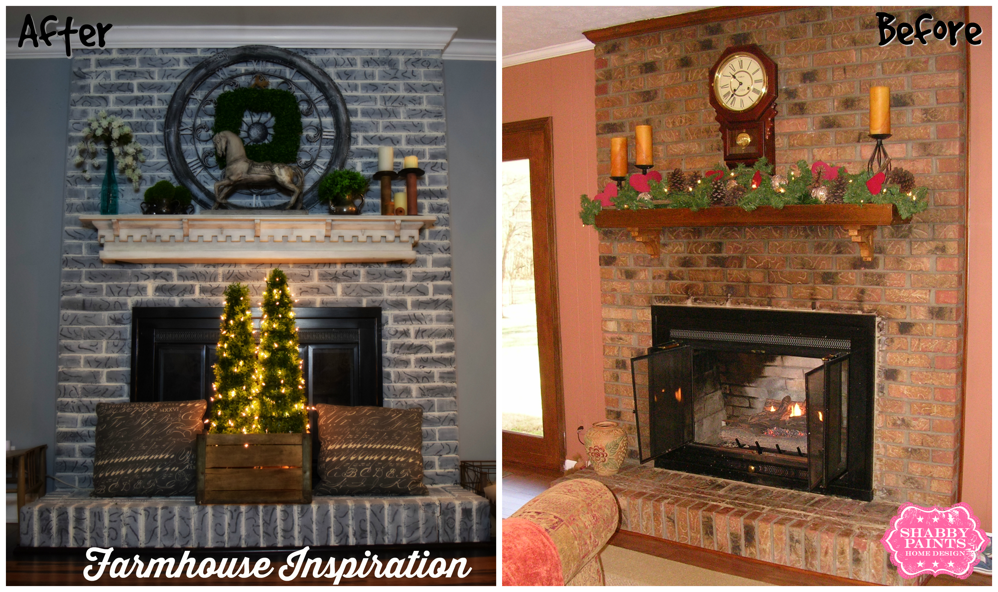Painted Brick Fireplace Farmhouse Inspiration