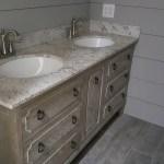 Limewashed vanity farmhouse bathroom