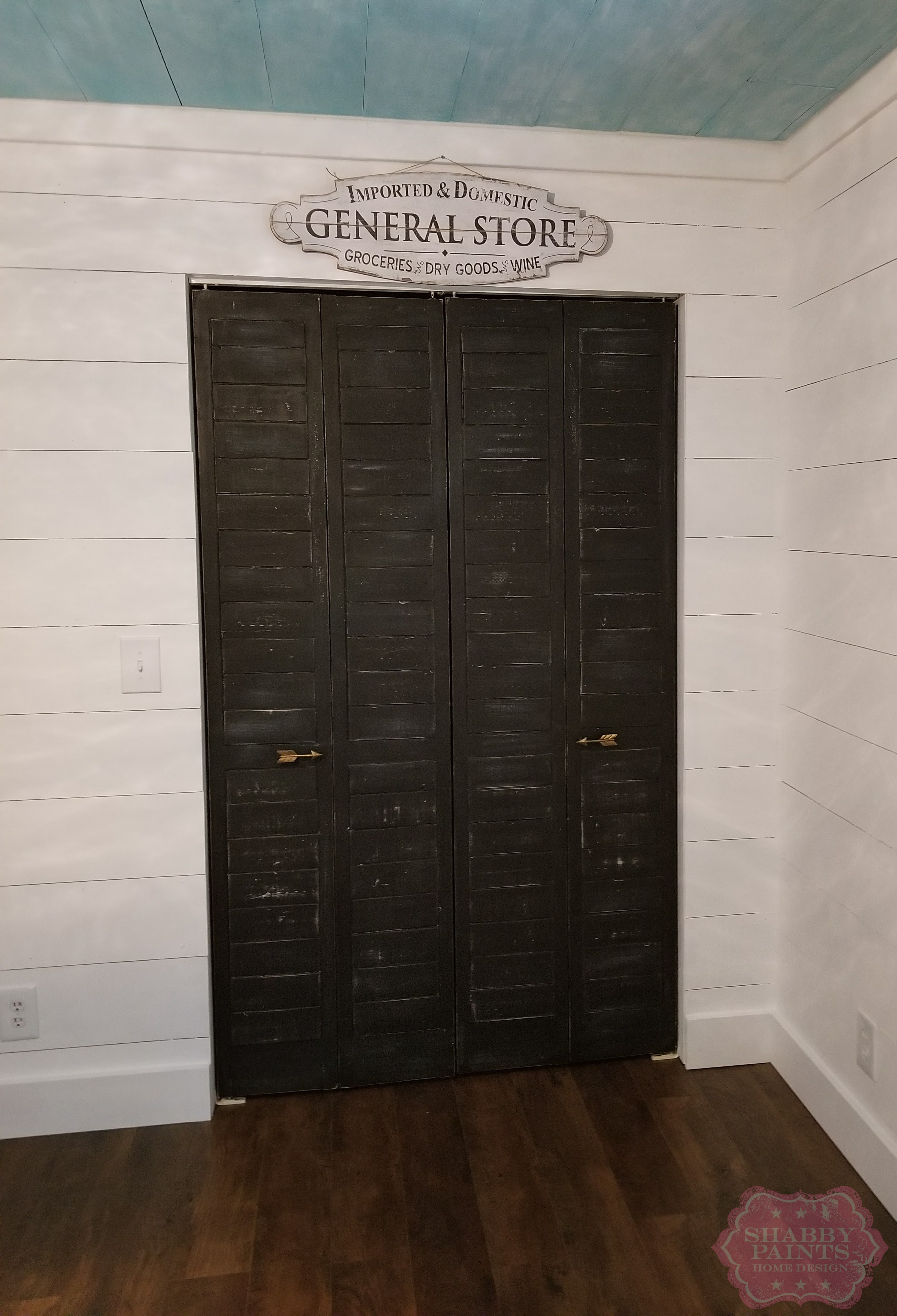 Bye Bye Fold Doors Shiplap Inspired Closet Door Makeover Shabby