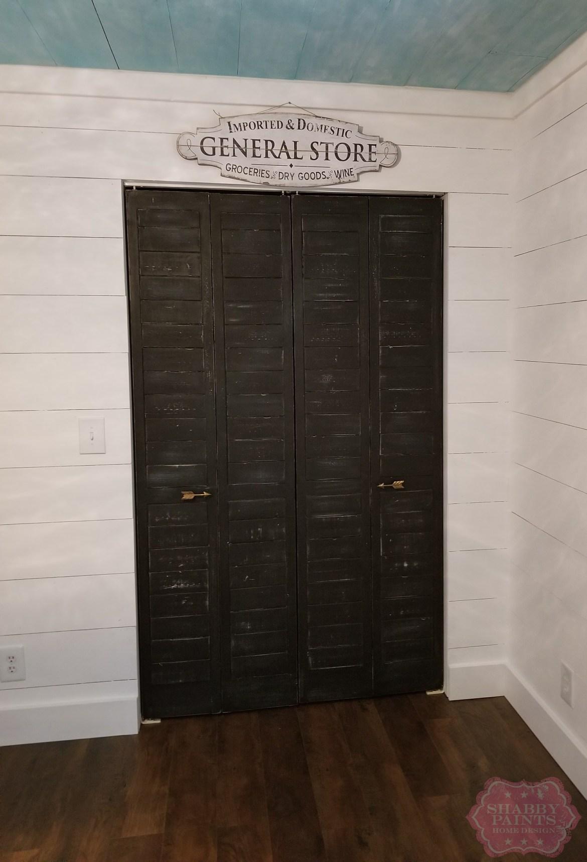 Shiplap inspired Bi-Fold Closet door makeover.