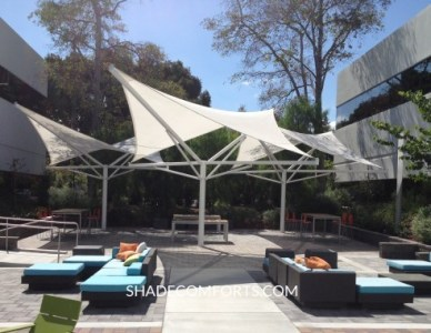 Patio Shade Umbrellas   Commercial NorCal   Giant Permanent Hypar Shade Sail Umbrellas  Hypar Shade Sail Umbrellas