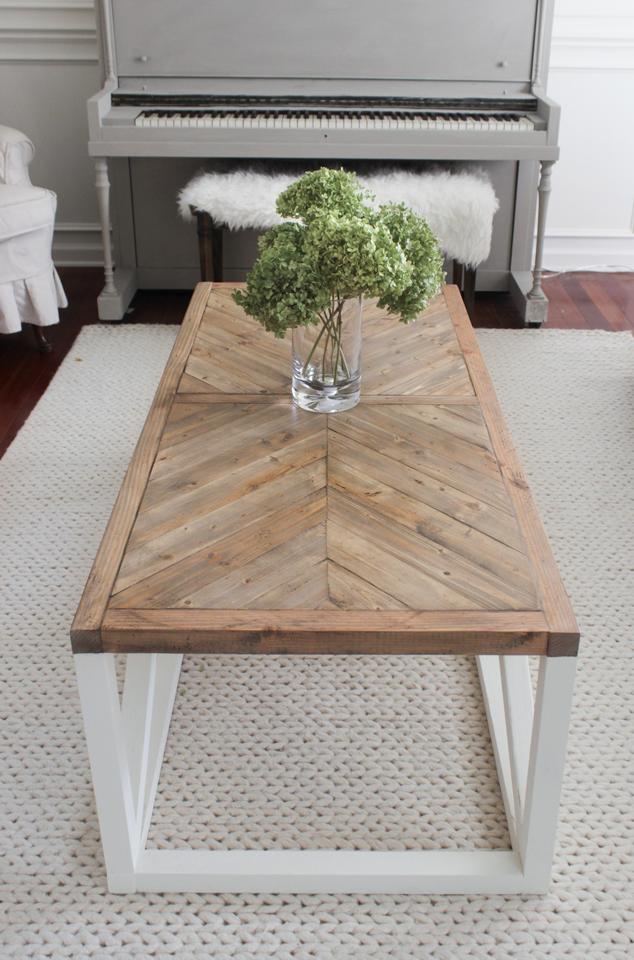 Modern Farmhouse Herringbone Coffee Table Shades Of Blue