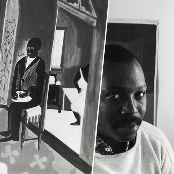 Black and white portrait of Jacob Lawrence