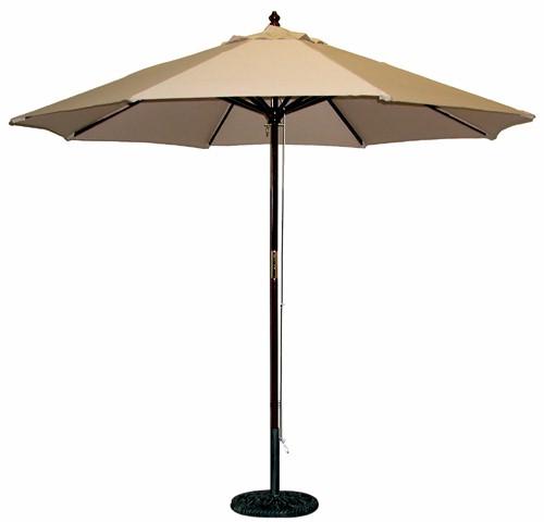 9 wooden commercial grade patio umbrellas rope pulley lift no tilt