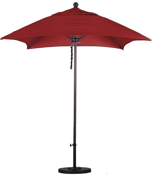 6 aluminum square sunbrella aa patio umbrella manual lift no tilt fiberglass ribs