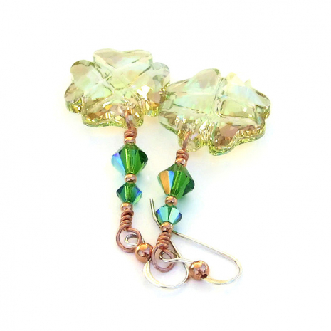 St Patricks Day Earrings Lucky Four Leaf Clover Swarovski