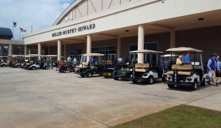 Sooo many golf carts!! Shopping at the vendor hall