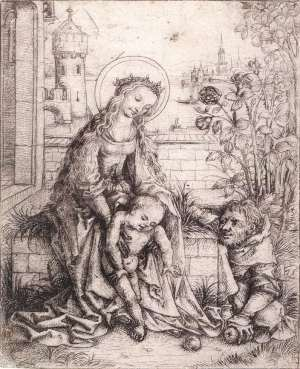The Holy Family with the Rose-bush c. 1490 Drypoint (unique impression), 142 x 115 mm Rijksmuseum, Amsterdam  One of the most delightful and surprising depictions of the Holy Family is an etching by the Master of the Housebook, which survives in only a single impression. The family is outdoors, in an enclosed garden....
