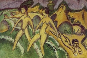 Kirchner_Striding_in_the_Sea_1912