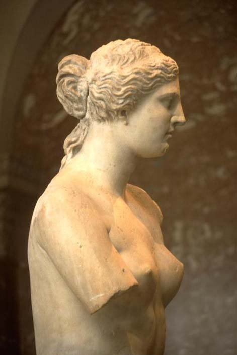 Paris  (France), Louvre, Musee  du  Louvre.-  Interior:  viewer  in  front  of  the   Venus by  Milo  (sculpture,  Hellenistic,  end  ofC 2 nd  BC,  marble,  height  202 x 177 cm) in the   Hall of the Venus  by  Milo. - Photo,  undated  (1950 s).