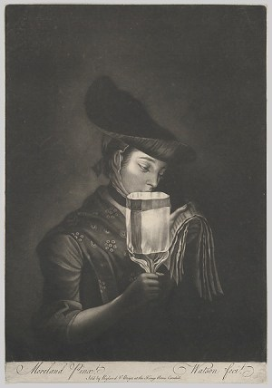 A  Girl Singing Ballads  by a  Paper Lanthorn,  after  1767 — before  1782  Thomas Watson  (British, 1743 - 1781)  after   Henry Robert Morland  (British, 1716 ?� 1797) Mezzotint; 12  3/4  x 9 in. (32.4  x  22.9  cm)