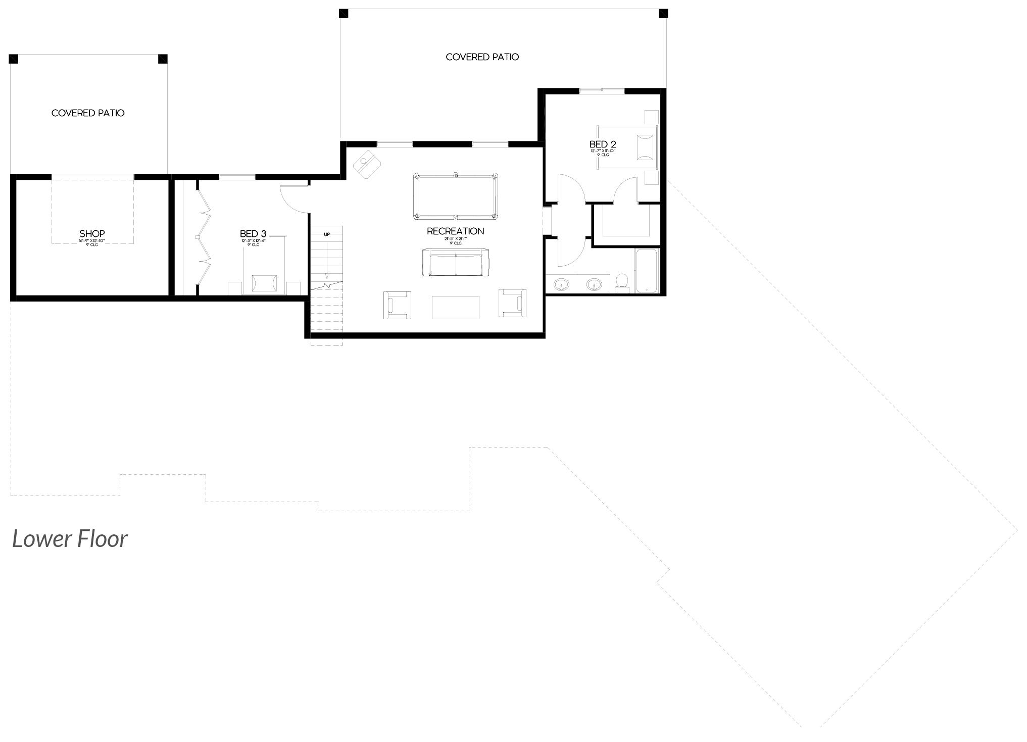 Shaffer Inc. Contemporary Timber Custom Home Plans Lower Floor