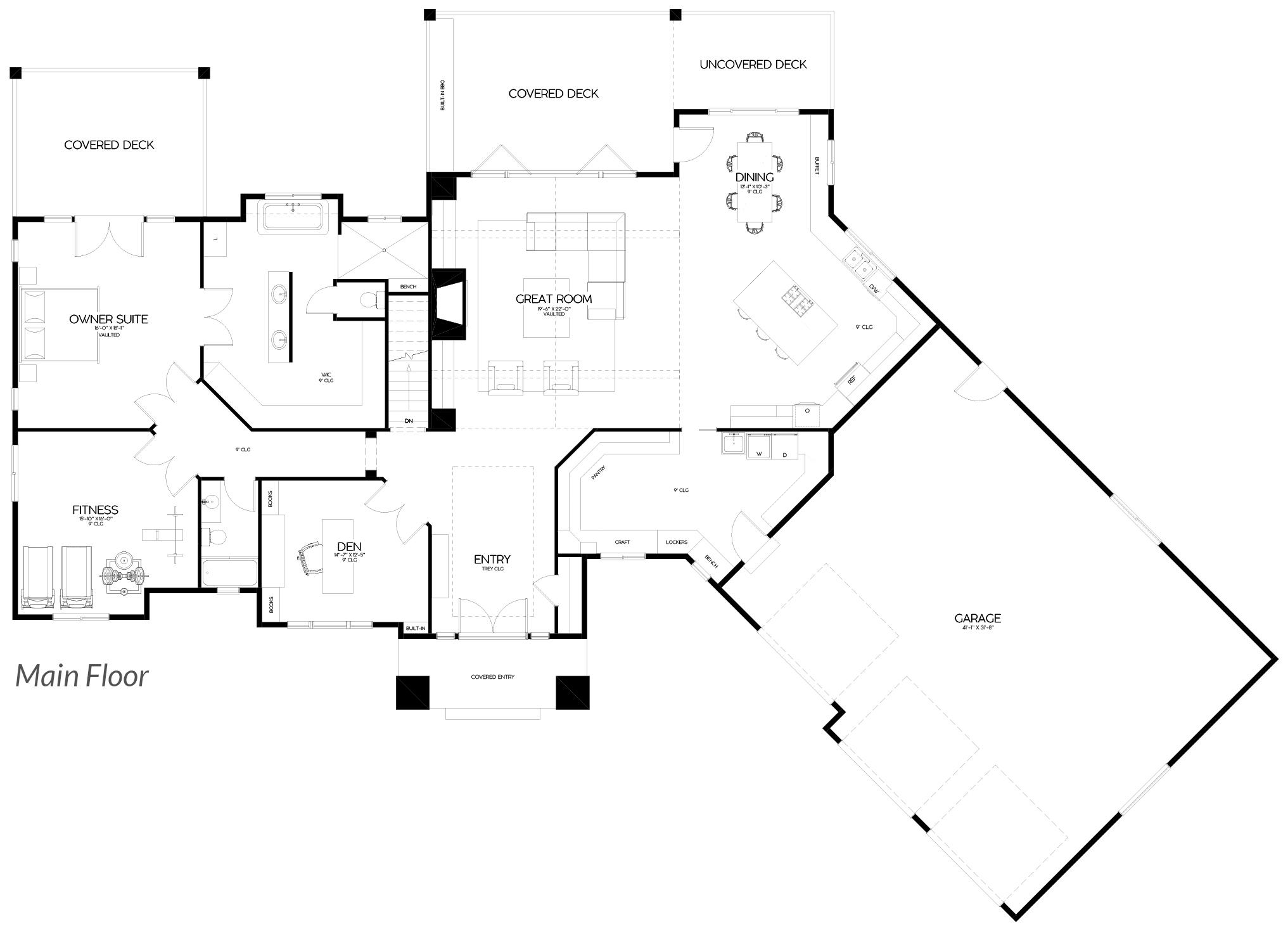 Shaffer Inc. Contemporary Timber Custom Home Plans Main Floor