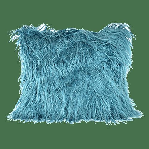 teal fur pillow