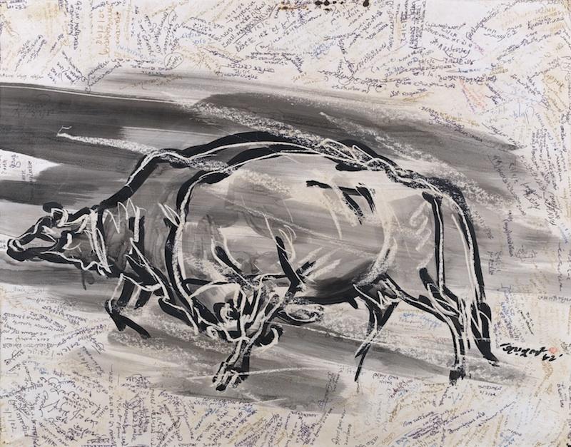 'Rebel Cows', 1975, Brush, ink, and wax on paper, 52x70.5 cm, Shilpacharya Zainul Abedin Sangrahashala, Mymensingh, Bangladesh