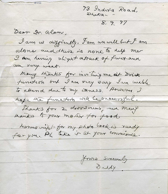 Hand written letter by Golam Kasem Daddy, when he was 103.