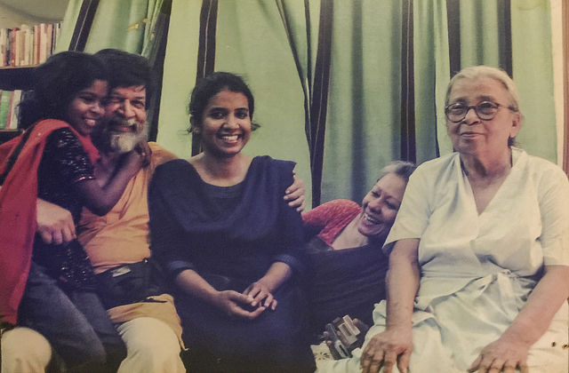 Mahasweta Devi, with (from left to right) Chompaboti, Shahidul Alam, Taslima Akhter and Rahnuma Ahmed, at our home in Dhanmondi, Dhaka. January 2009. ? Munira Morshed Munni