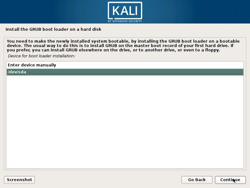 Install Kali Linux 2018 in VMware Workstation 14- Select GRUB Boot Loader Device Screenshot