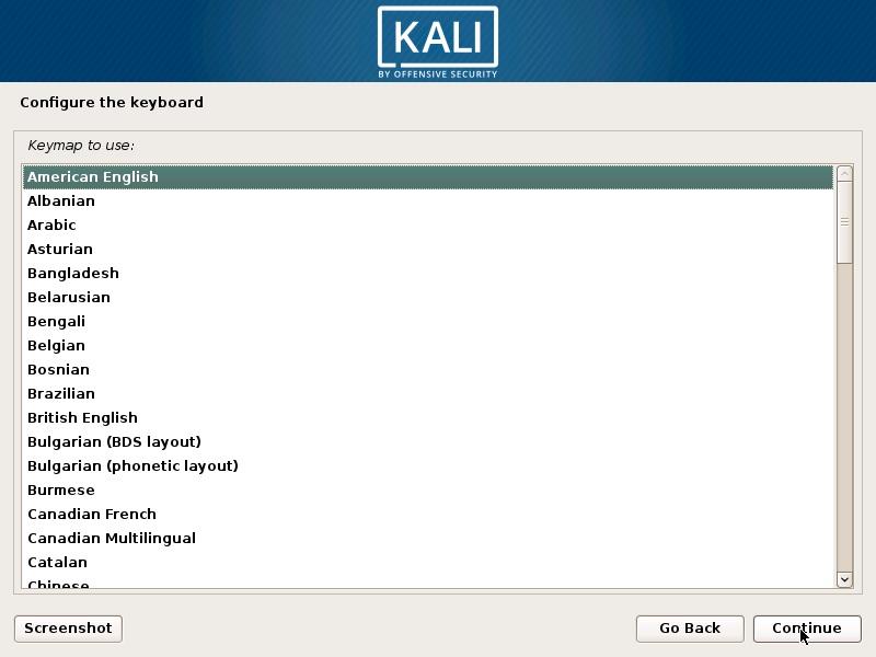 Install Kali Linux 2018 in VMware Workstation 14- Configure keyboard Screenshot