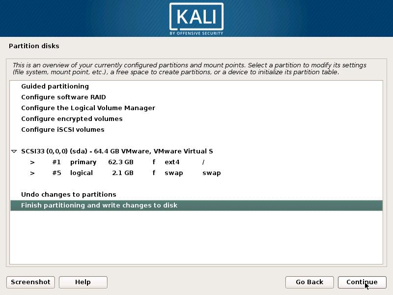 Install Kali Linux 2018 in VMware Workstation 14- Disk Partition Overview Screenshot