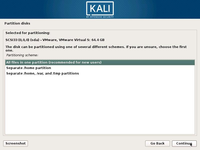 Install Kali Linux 2018 in VMware Workstation 14- Disk Partitioning Scheme Screenshot