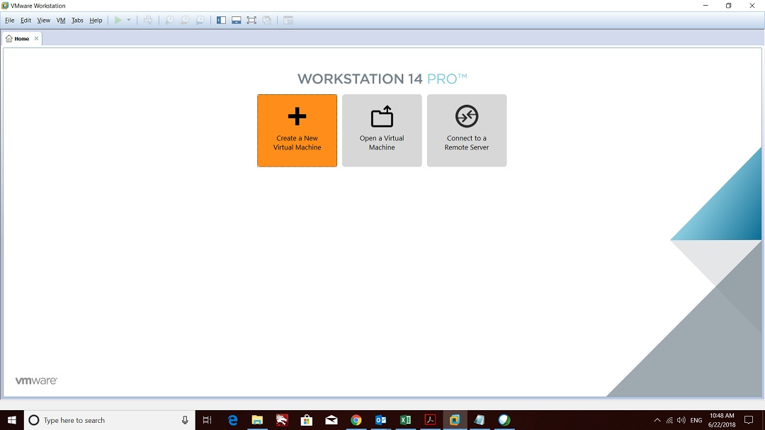 VMware workstation home create a new virtual machine screenshot