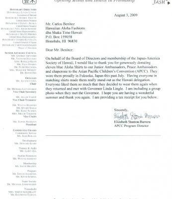 THANKS LETTER FROM JAPAN AMERICA SOCIETY