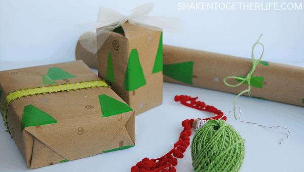 DIY Stamped Trees Gift Wrap