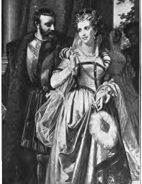Beatrice and Benedick, 'Do you not love me?' (5.4). From Stories of Shakespeare's Comedies by Helene Adeline Guerber. Illus. H. Merle