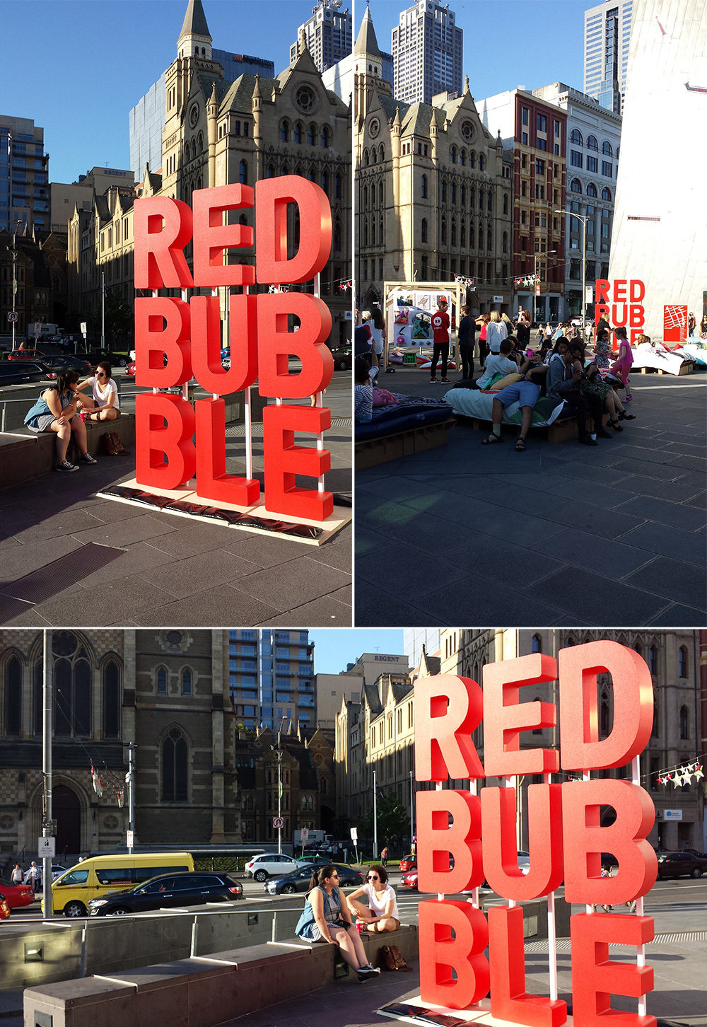 Photo on left: Montage of Redbubble's city-wide event ART+MEL in November 2015 at their Hub in Federation Square, Melbourne, featuring products with designs from 100+ of Redbubble designers (the beds the general public are lying all over are all covered by cushions and duvet covers by Redbubble artists as well).  Photo by The Shakespeare Shoppe Designer, Sally McLean.
