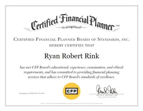 Ryan Rink CFP Certificate