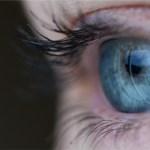 closeup of clear blue eye