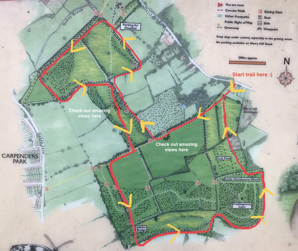 Merry Hill trail map