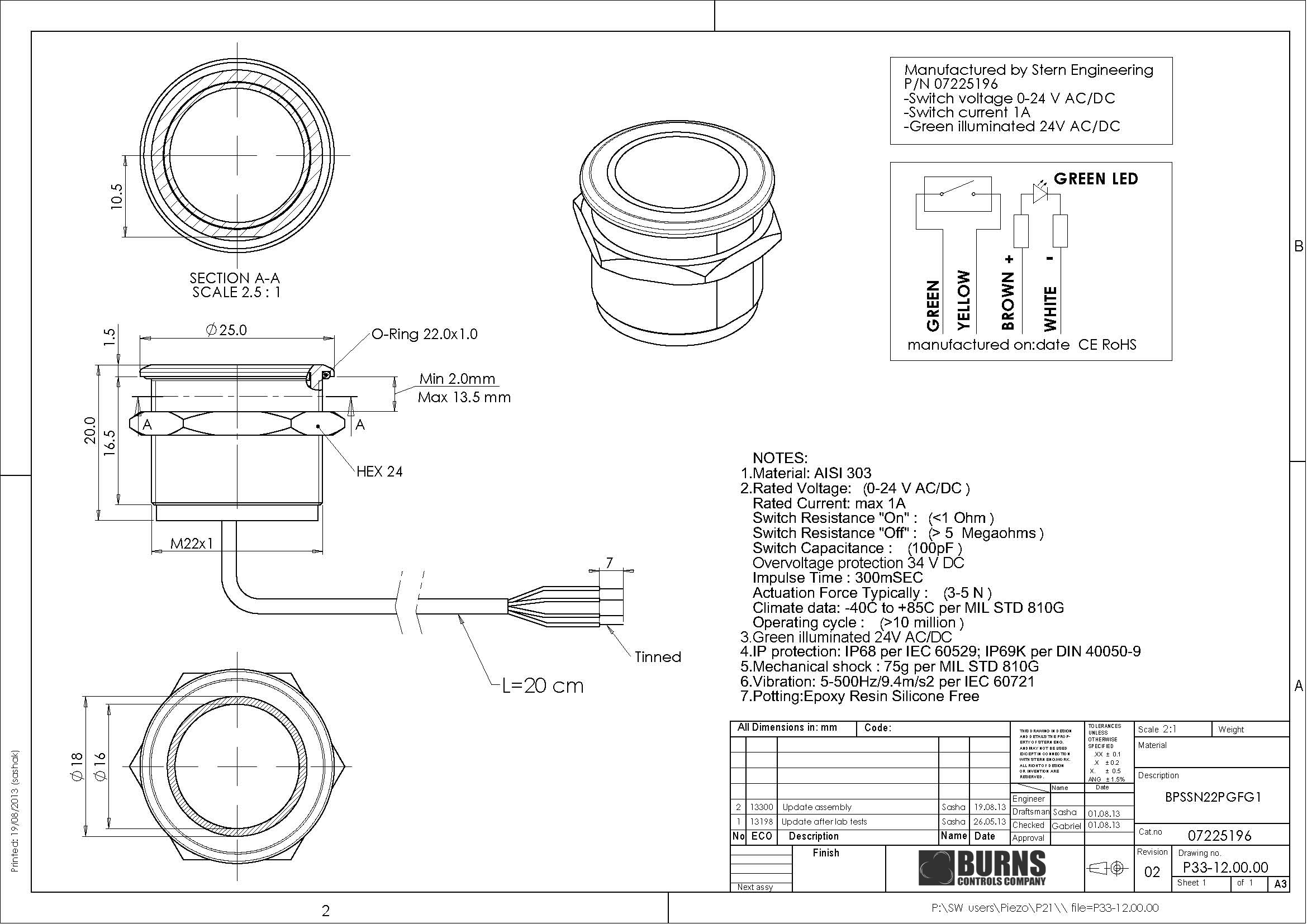 Stainless Steel Piezo Switch