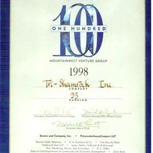 Top 100 Fastest Growing Companies in Utah 1998