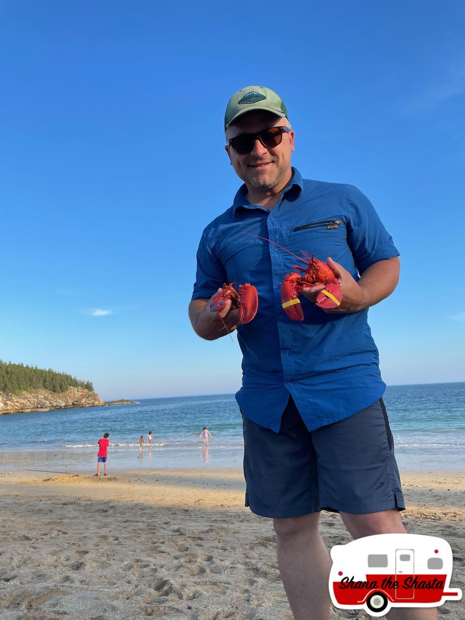 Fresh-Lobster-Dinner-on-Sand-Beach