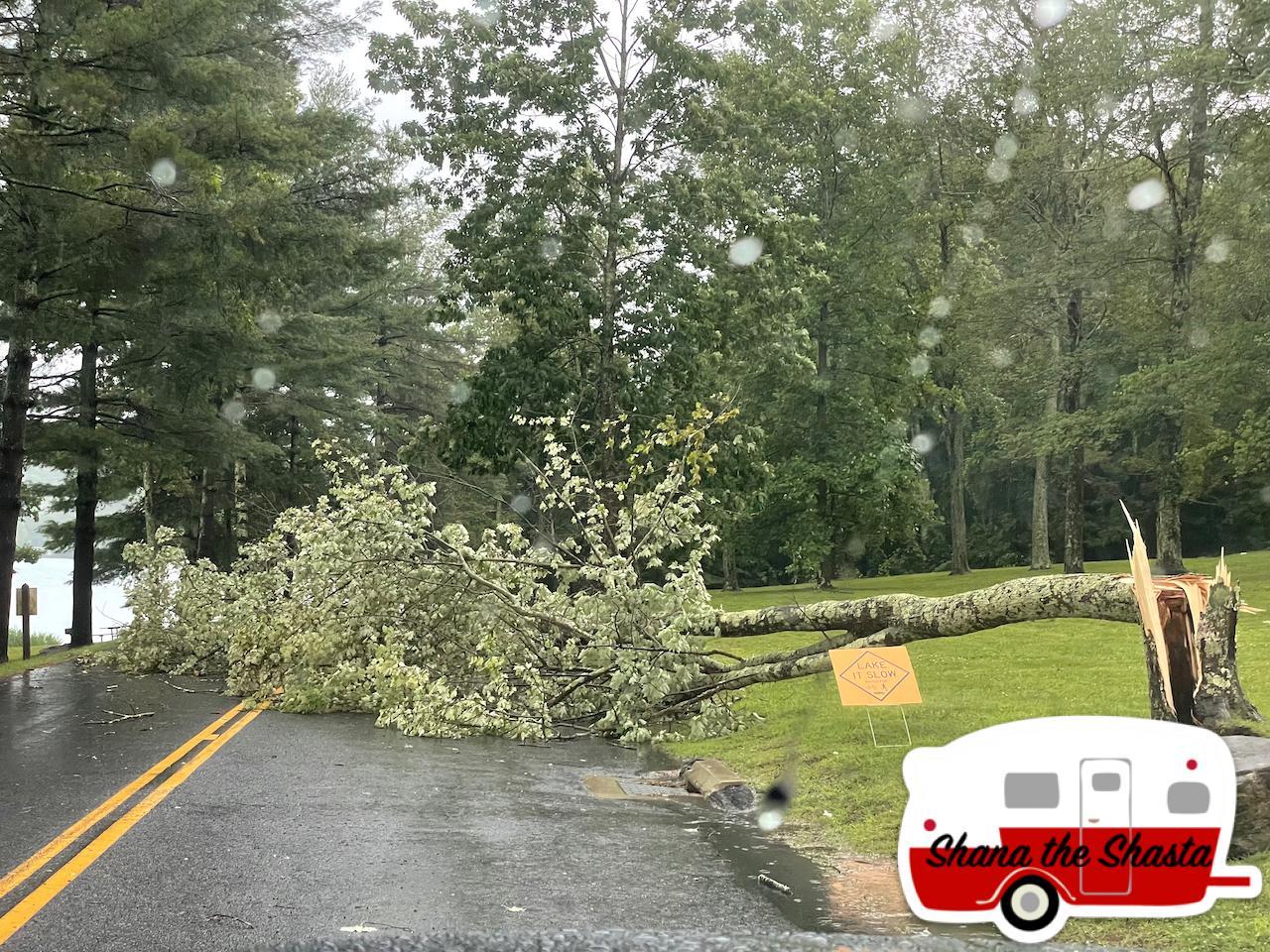 Trees-Blocking-Roads-Around-Lake-Waramaug