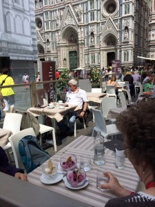 Cathe and Nancy enjoy the day near the Duomo.