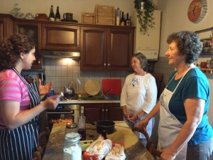 Giulia talks about the Tuscan trifle we are to make.