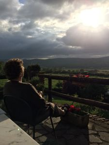 Nancy takes in the view from our terrace at the farm.