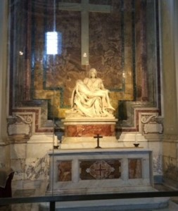 The sublime Pieta by Michelangelo now sits out of reach behind bullet proof glass.