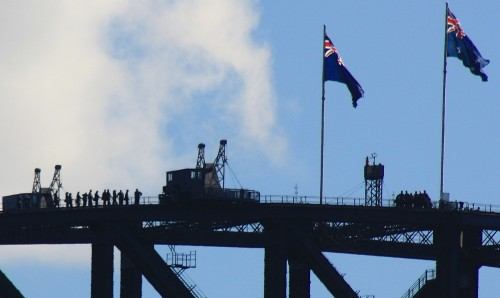 People Walking over Sydney Harbour Bridge