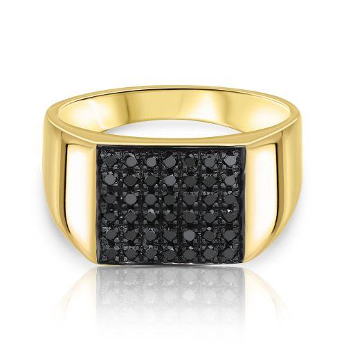 טבעת חותם מלבנית משובצת יהלומים שחורים