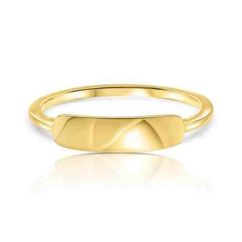 טבעת פלטה עדינה עם חריטה זהב 14 קארט