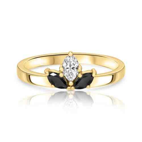 טבעת יהלומי מרקיזה - שחור לבן שחור