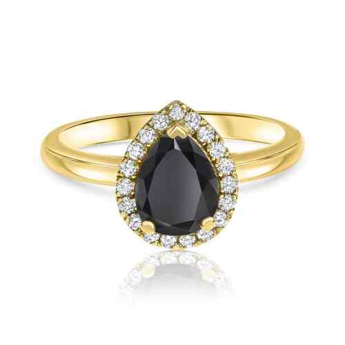 טבעת יהלום שחור טיפה עם יהלומים לבנים