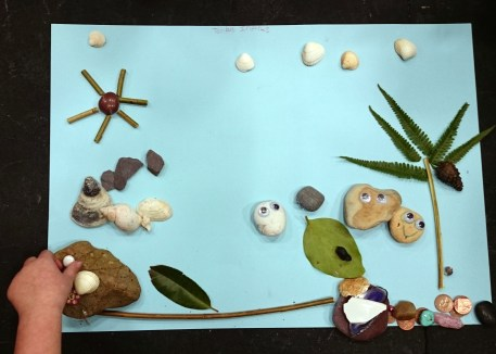 Children's pictures of coastal gardens created during an Eco Club workshop.