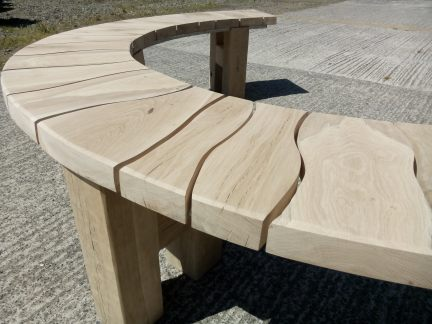 Garden Furniture - Freshly sanded oak tree seat